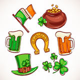 St. Patrick`s Day icon set Stock Photography