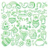 St. Patrick s Day icons set isolated on white background. Hand drawn doodle style vector illustration. Stock Image