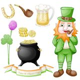 St. Patrick`s day icons set royalty free illustration