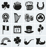 St. Patrick's Day icons set. Vector collection. Happy St. Patrick's Day! Vector collection of holiday icons. Set of 16 silhouette black symbols Royalty Free Illustration