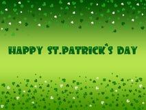 St. Patrick`s Day celebration greeting card. St. Patrick`s Day Illustration with many cloves stock illustration