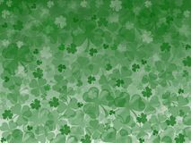 Frame leaves clover trefoil shamrock pattern St. Patrick green background, Irish. St. Patrick`s Day Illustration with many cloves royalty free illustration