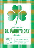 St. Patrick's Day Invitation Template with Shamrock - Vector Stock Photography