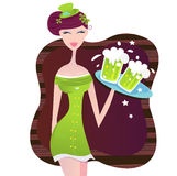 St. Patrick's Day irish girl with green beer Stock Photo