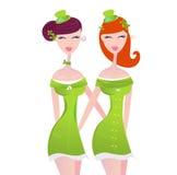 St. Patrick's Day irish girls in green. Hot irish girls on St. Patrick's Day. Vector Illustration Stock Photo