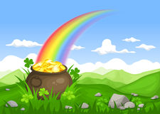 St. Patrick's day Irish landscape with pot of gold and rainbow. Vector eps-10. Stock Photo