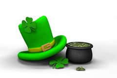 St. Patrick's Day leprechaun hat. With four-leaf clover and pot with coins Royalty Free Stock Photos