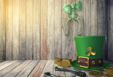 St. Patrick`s Day Leprechaun Hat with Gold Coins and Horseshoes on Wooden Background with Copy Space Royalty Free Stock Images