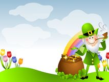 St. Patrick's Day Leprechaun Pot of Gold. A clip art illustration featuring a St. Patrick's Day leprechaun dressed in green with a pipe standing beside a pot of Royalty Free Stock Image