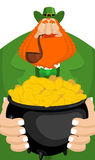 St. Patrick`s Day. Leprechaun and pot of gold. Magic dwarf and b Stock Images