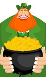 St. Patrick`s Day. Leprechaun and pot of gold. Magic dwarf and b Royalty Free Stock Photos