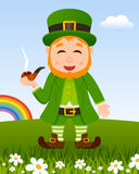 St. Patrick`s Day with Leprechaun Smoking Royalty Free Stock Photo