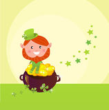 St. Patrick's Day Leprechaund with pot of gold Royalty Free Stock Photography