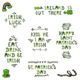 St. Patrick's Day Lettering. Irish Luck, Kiss Me I Am Irish, Eat Dreank and be Irish, Happy St Patricks Day. 17 March Irish Day C. Elebration Illustration. Hand stock illustration