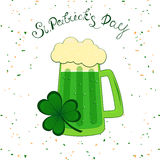 St.Patrick`s day lettering and traditional green beer. Irish hollyday template design. royalty free illustration
