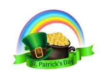 St.Patrick`s Day logo. Pot Of Gold, rainbow and leprechaun hat Stock Photos