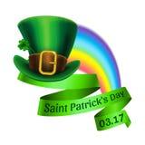 St.Patrick`s Day logo. Rainbow and green leprechaun hat Stock Photo
