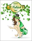Lovely girl in a hat. St.Patrick`s Day. Lovely girl in a hat on a white background with shamrocks clover. A pretty fashion leprechaun girl Stock Photography