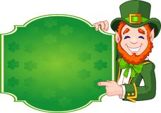 St. Patrick's Day Lucky Leprechaun. Great illustration of a cartoon St. Patrick's Day Lucky Leprechaun holding sign Royalty Free Stock Photos
