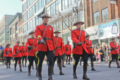 St.Patrick's day in Montreal. Montreal (Quebec Canada) March 20th, 2011. This is Monted police during the St.Patrick's day in Montreal on Ste Catherine Street Royalty Free Stock Photos