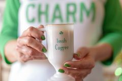 St. Patrick`s Day morning with a cup of Irish coffee stock photos