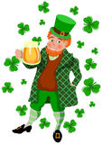 St Patrick's Day Mug. A man in Irish costume with a beer mug Royalty Free Stock Photography