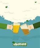 St. Patricks Day Mug of beer. Drink Bar Flyer Poster Stock Image