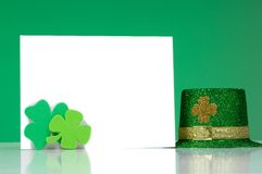 St. Patrick's Day Note blank notecard. Blank notecard with St. Patricks day decorations Stock Photography