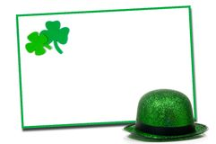 St. Patrick's Day Note blank notecard. Blank notecard with St. Patricks day decorations Royalty Free Stock Image