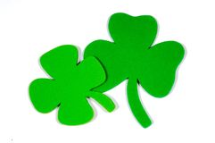 St. Patrick's Day Note Decoration with foam shamrock Royalty Free Stock Photo