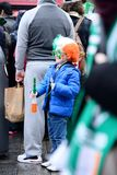 The child was on St. Patrick`s Day Parade in Dublin, Ireland, March 18th 2015 Royalty Free Stock Photography