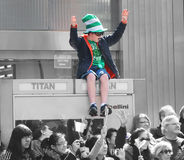St.Patrick's Day Parade. A boy dressed in Irish costume in colors cheering at  the 251st annual St. Patrick's Day Parade in NYC Royalty Free Stock Photos