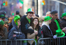 St. Patrick's Day Parade. NEW YORK, NY, USA MAR 17: Crowds of people gather to celebrate at the St. Patrick's Day Parade on March 17, 2012 in New York City Royalty Free Stock Photography