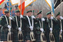St. Patrick`s Day Parade Chicago 2016. Chicago, Illinois, USA - March 12, 2016, The St. Patrick`s Day Parade is a cultural and religious celebration from Ireland stock photography