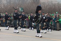 St. Patrick`s Day Parade Chicago 2016. Chicago, Illinois, USA - March 12, 2016, The St. Patrick`s Day Parade is a cultural and religious celebration from Ireland stock images