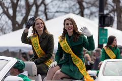 St. Patrick`s Day Parade Chicago 2018. Chicago, Illinois, USA - March 17, 2018, The St. Patrick`s Day Parade is a cultural and religious celebration from Ireland stock images
