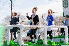 St. Patrick`s Day Parade Chicago 2018. Chicago, Illinois, USA - March 17, 2018, The St. Patrick`s Day Parade is a cultural and religious celebration from Ireland stock photography