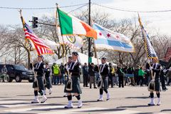 St. Patrick`s Day Parade Chicago 2018. Chicago, Illinois, USA - March 17, 2018, The St. Patrick`s Day Parade is a cultural and religious celebration from Ireland stock image
