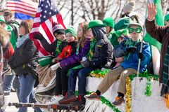 St. Patrick`s Day Parade Chicago 2018. Chicago, Illinois, USA - March 17, 2018, The St. Patrick`s Day Parade is a cultural and religious celebration from Ireland stock photos
