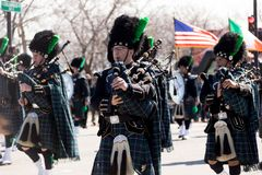 St. Patrick`s Day Parade Chicago 2018. Chicago, Illinois, USA - March 17, 2018, The St. Patrick`s Day Parade is a cultural and religious celebration from Ireland Royalty Free Stock Images