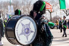 St. Patrick`s Day Parade Chicago 2018. Chicago, Illinois, USA - March 17, 2018, The St. Patrick`s Day Parade is a cultural and religious celebration from Ireland royalty free stock photography