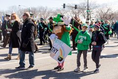 St. Patrick`s Day Parade Chicago 2018. Chicago, Illinois, USA - March 17, 2018, The St. Patrick`s Day Parade is a cultural and religious celebration from Ireland royalty free stock image