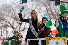 St. Patrick`s Day Parade Chicago 2018. Chicago, Illinois, USA - March 17, 2018, The St. Patrick`s Day Parade is a cultural and religious celebration from Ireland stock photo