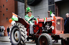 St. Patrick's Day Parade 12/03/2012 Manchester, England. Man in royalty free stock images