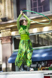 Woman dancing. St Patrick's day parade March 17 2013 stock photography
