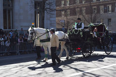 St. Patrick's Day Parade in NYC. Horse Drawn Carriage in Parade - Circa 2011 Royalty Free Stock Photo
