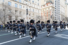 St. Patrick's Day Parade in NYC. Bagpipes & Kilts marching in the St. Patrick's Day Parade - Circa 2010 Royalty Free Stock Images