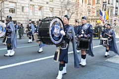 St. Patrick's Day Parade in NYC. Drummers in Kilts marching in the St. Patrick's Day Parade - Circa 2010 Stock Photo