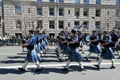 St. Patrick's Day Parade in NYC. Bagpipers in Kilts marching in the St. Patty Day Parade Royalty Free Stock Image