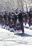 St. Patrick's Day Parade in NYC. Bagpipes & Kilts marching in the St. Patrick's Day Parade - Circa 2010 Royalty Free Stock Photo